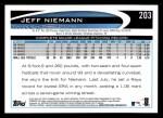 2012 Topps #203  Jeff Niemann  Back Thumbnail
