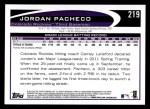 2012 Topps #219  Jordan Pacheco  Back Thumbnail
