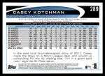 2012 Topps #289  Casey Kotchman  Back Thumbnail