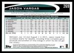 2012 Topps #269  Jason Vargas  Back Thumbnail