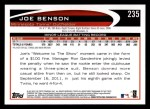 2012 Topps #235  Joe Benson  Back Thumbnail