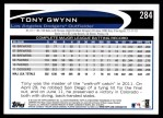 2012 Topps #284  Tony Gwynn  Back Thumbnail