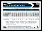 2012 Topps #238  Emilio Bonifacio  Back Thumbnail