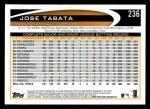 2012 Topps #236  Jose Tabata  Back Thumbnail