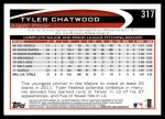 2012 Topps #317  Tyler Chatwood  Back Thumbnail