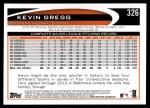 2012 Topps #326  Kevin Gregg  Back Thumbnail