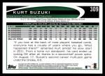 2012 Topps #309  Kurt Suzuki  Back Thumbnail