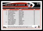 2012 Topps #319   -  Justin Verlander / C.C. Sabathia / Jered Weaver AL Wins Leaders Back Thumbnail