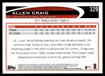2012 Topps #329   -  Allen Craig  Highlights Back Thumbnail