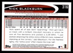 2012 Topps #316  Nick Blackburn  Back Thumbnail