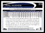 2012 Topps #313  Phil Hughes  Back Thumbnail
