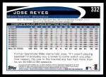 2012 Topps #332  Jose Reyes  Back Thumbnail