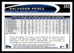 2012 Topps #343  Salvador Perez  Back Thumbnail