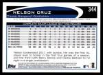 2012 Topps #344  Nelson Cruz  Back Thumbnail