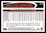 2012 Topps #345  Jonathan Papelbon  Back Thumbnail