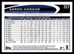 2012 Topps #357  Aaron Harang  Back Thumbnail