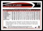 2012 Topps #375  Drew Stubbs  Back Thumbnail