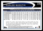 2012 Topps #376  Carlos Quentin  Back Thumbnail