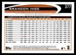 2012 Topps #377  Brandon Inge  Back Thumbnail