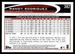2012 Topps #382  Wandy Rodriguez  Back Thumbnail