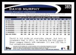 2012 Topps #385  David Murphy  Back Thumbnail