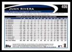 2012 Topps #406  Juan Rivera  Back Thumbnail