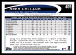 2012 Topps #409  Greg Holland  Back Thumbnail