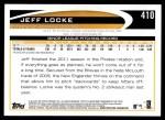 2012 Topps #410  Jeff Locke  Back Thumbnail