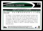 2012 Topps #418  Jarrod Parker  Back Thumbnail
