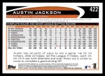 2012 Topps #422  Austin Jackson  Back Thumbnail