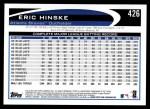 2012 Topps #426  Eric Hinske  Back Thumbnail