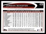 2012 Topps #428  Jordan Schafer  Back Thumbnail