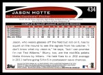 2012 Topps #434  Jason Motte  Back Thumbnail