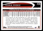 2012 Topps #436  Chris Perez  Back Thumbnail