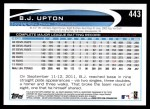 2012 Topps #443  B.J. Upton  Back Thumbnail