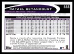 2012 Topps #444  Rafael Betancourt  Back Thumbnail
