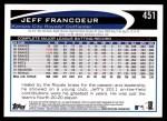 2012 Topps #451  Jeff Francoeur  Back Thumbnail