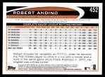2012 Topps #452  Robert Andino  Back Thumbnail