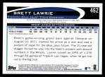 2012 Topps #462  Brett Lawrie  Back Thumbnail