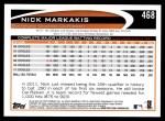 2012 Topps #468  Nick Markakis  Back Thumbnail