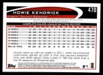 2012 Topps #470  Howie Kendrick  Back Thumbnail