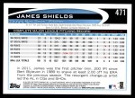 2012 Topps #471  James Shields  Back Thumbnail