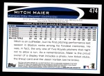 2012 Topps #474  Mitch Maier  Back Thumbnail