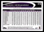 2012 Topps #476  Ramon Hernandez  Back Thumbnail