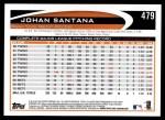 2012 Topps #479  Johan Santana  Back Thumbnail