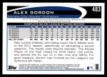 2012 Topps #483  Alex Gordon  Back Thumbnail