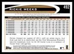 2012 Topps #492  Rickie Weeks  Back Thumbnail