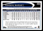 2012 Topps #494  Darwin Barney  Back Thumbnail