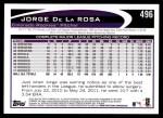 2012 Topps #496  Jorge De La Rosa  Back Thumbnail