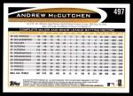 2012 Topps #497  Andrew McCutchen  Back Thumbnail